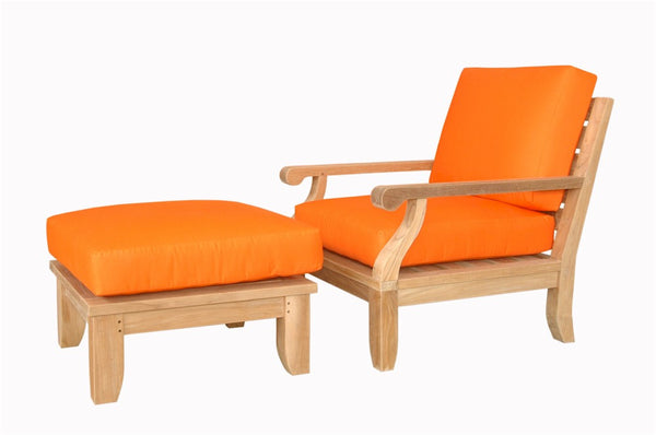 Anderson Teak | Riviera-Luxe Modular Armchair and Ottoman |SET-91 -  Furniture - Teakwood Central