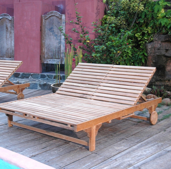 Bel Air Double Teak Sun Lounger Set of 2 Double Loungers |SET-48 -  Furniture - Teakwood Central