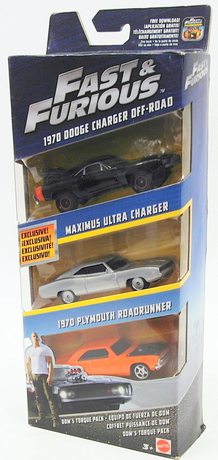 Mattel 1/55 Scale Diecast FCG02 Fast & Furious 3 Car Pack Dodge Plymouth Maximus