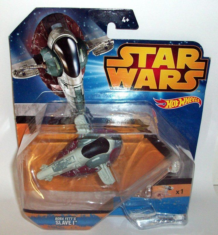 Hot Wheels Scale CGW52 Star Wars Disney Boba Fett Slave 1 model + stand