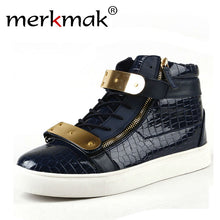 Merkmak Patent Leather Men Boots Fashion Crocodile Warm Autumn Ankle Boots Outdoor Waterproof Rubber Sole Boot Cool Metal Design