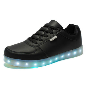 Merkmak Colorful Glowing Shoes Lights Up LED Luminous Shoe USB Rechargeable Shoes For Adults White Black Flats Plus Size 35-46