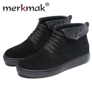 Merkmak Unisex Casual Black Shoes Fashion Italy High Top Pointed Toe Cow Suede Boots Outdoor Women Flats Footwear Shoes Dropship