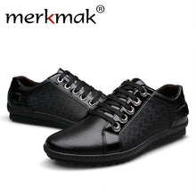 New brand korean casual men flat shoes genuine leather lace up men's flats mens footwear leather loafer free shipping big size