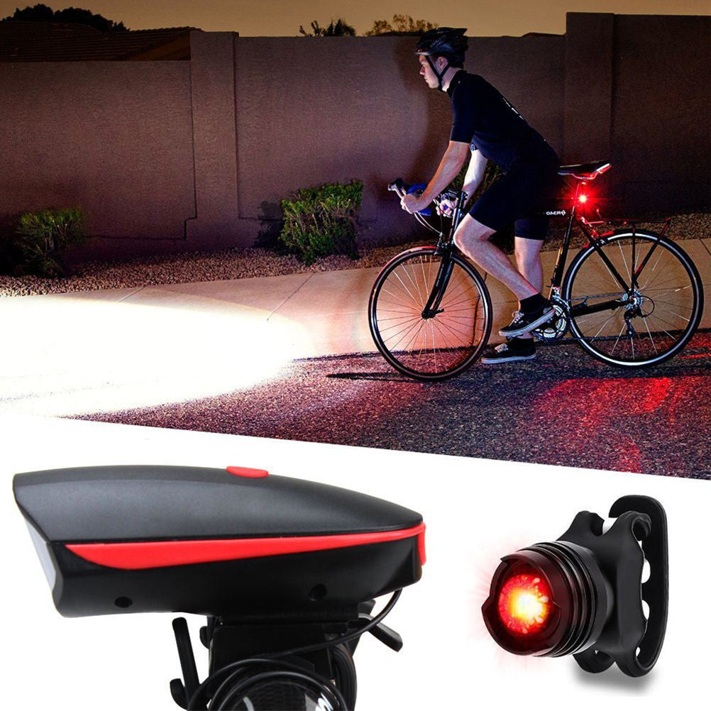 Super Bright USB Bike Bicycle Light Rechargeable LED Headlight &Taillight Set MTB Safety Warning Lamp #EW