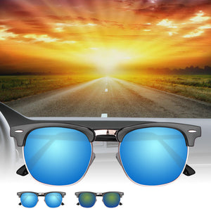 Fashionable UV400 Half Frame Sunglasses Metal Frame for Outdoor Sport Traveling Fishing Hiking Camping