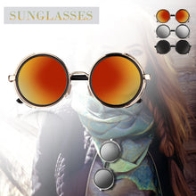 Vintage Punk UV400 Sunglasses Round Mirrored Golden Metal Frame Day Vision for Outdoor Sport Cycling Traveling Fishing Hiking Camping