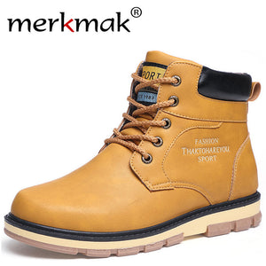 Merkmak Brand Warm Men Winter Boots High Quality PU Leather Wear Resisting Anti-skid Casual Shoes Working Fahsion Men's Boot