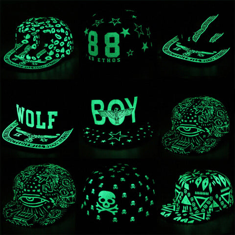 Fluorescent Light Snapback Caps Glows In The Dark