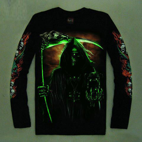 High Quality Luminous Glow In The Dark Long Sleeve Skull Print 11 FRONT & BACK PRINT