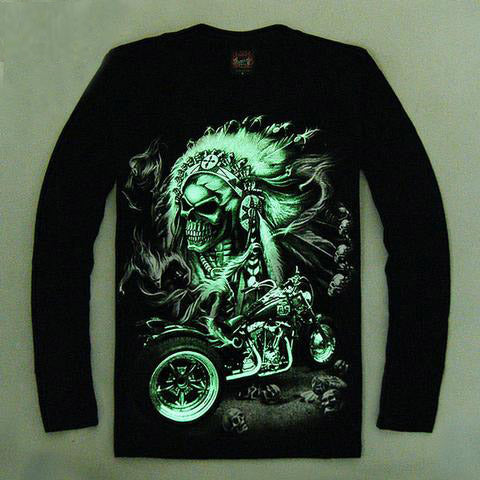 High Quality Luminous Glow In The Dark Long Sleeve Skull Print 10 FRONT & BACK PRINT