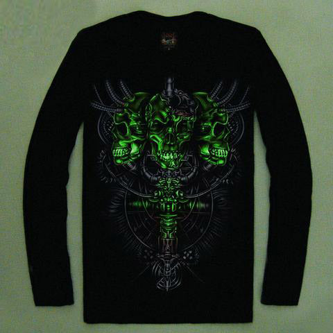 High Quality Luminous Glow In The Dark Long Sleeve Skull Print 9 FRONT & BACK PRINT