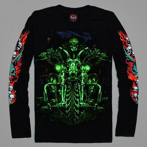 High Quality Luminous Glow In The Dark Long Sleeve Skull Print 8 FRONT & BACK PRINT