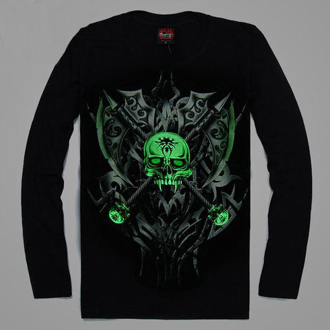 High Quality Luminous Glow In The Dark Long Sleeve Skull Print 7 FRONT & BACK PRINT