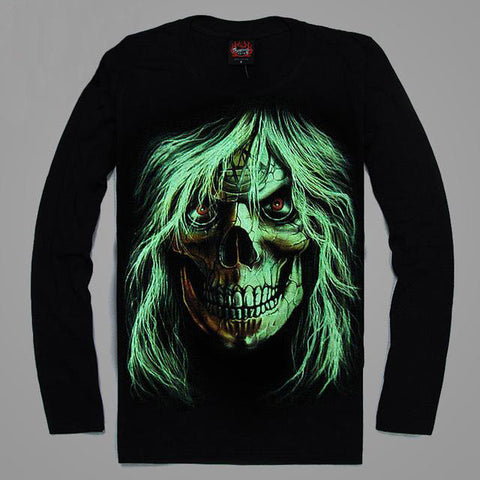 High Quality Luminous Glow In The Dark Long Sleeve Skull Print 5 FRONT & BACK PRINT