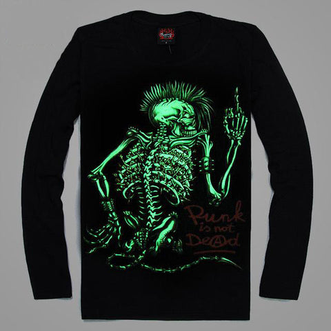 High Quality Luminous Glow In The Dark Long Sleeve Skull Print 4 FRONT & BACK PRINT