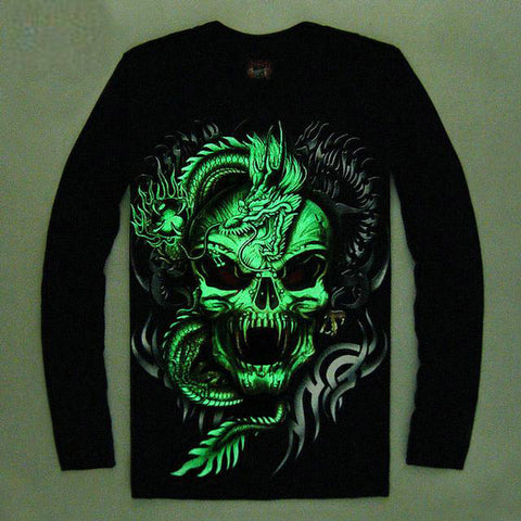 High Quality Luminous Glow In The Dark Long Sleeve Skull Print 3 FRONT & BACK PRINT