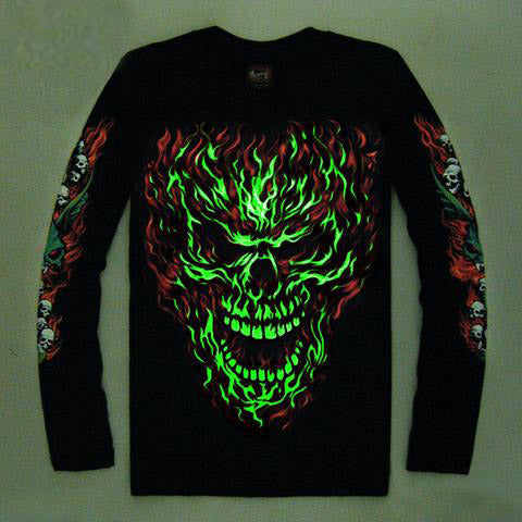High Quality Luminous Glow In The Dark Long Sleeve Skull Print 2 FRONT & BACK PRINT