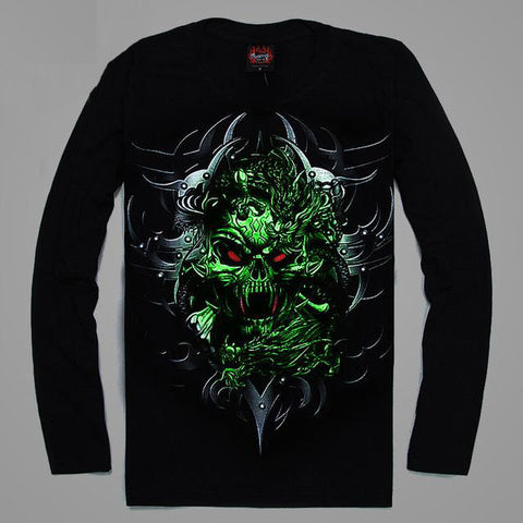 High Quality Luminous Glow In The Dark Long Sleeve Skull Print 1 FRONT & BACK PRINT