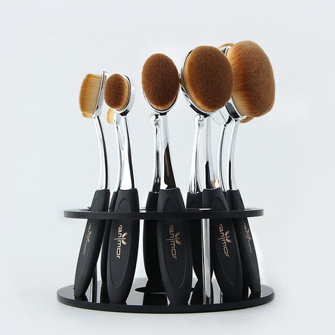 Oval Makeup Brushes Professional 10pcs