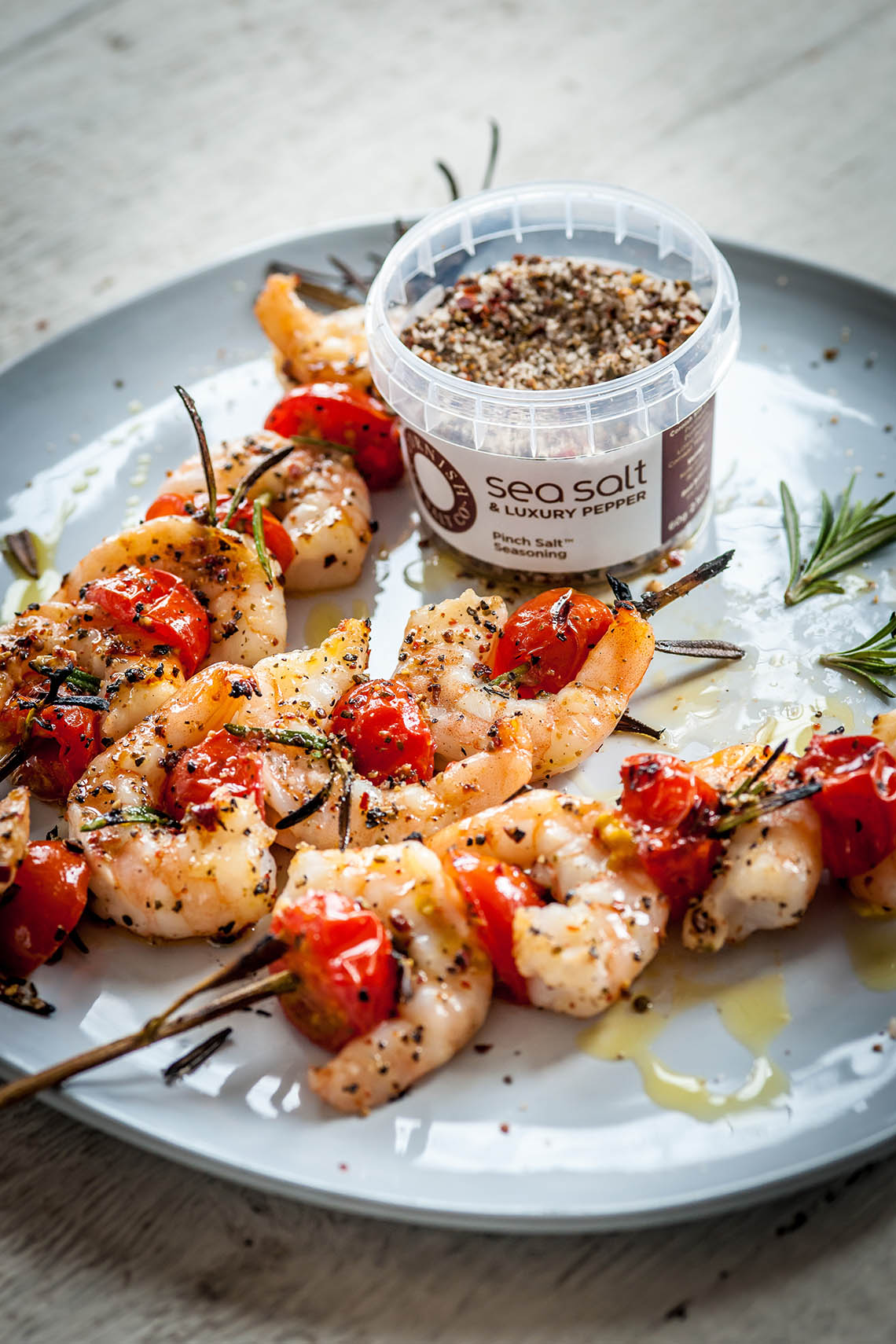 Sea Salt & Pepper Tiger Prawns on Rosemary Skewers