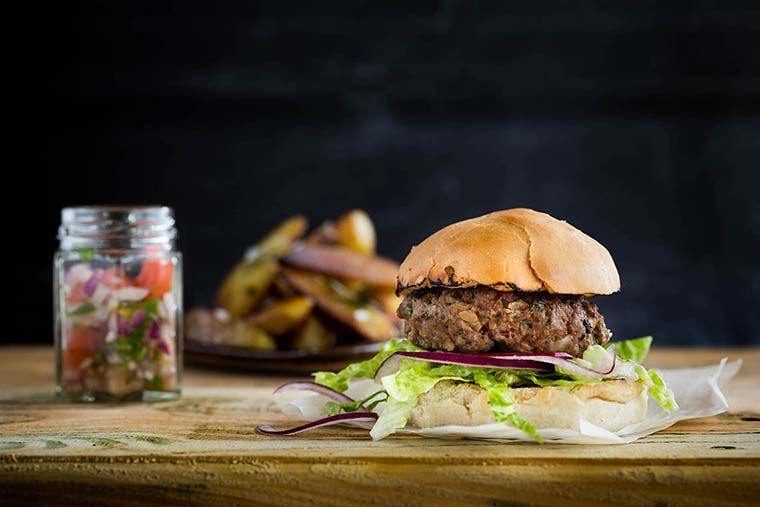 Sea Pepper & Beef Burger with Cornish Potato Wedges