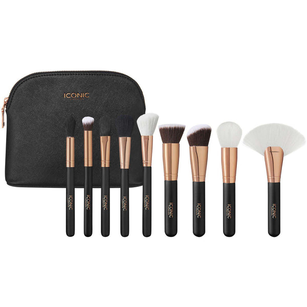 ICONIC LONDON  Black and Rose Gold Complete Face Makeup Brush Set