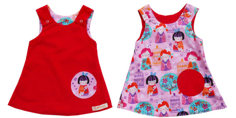 reversible - red/ pink doll