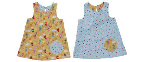 dresses - reversible - girl / fruits