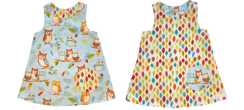 dresses - reversible - blue owl / leaf
