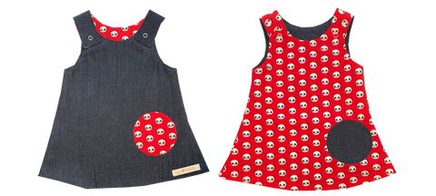dresses - reversible - denim / panda