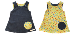 dresses - reversible - denim / yellow bird