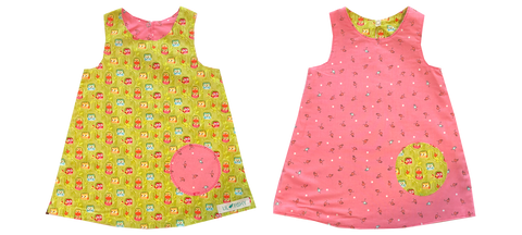 dresses - reversible - green owl / pink bug