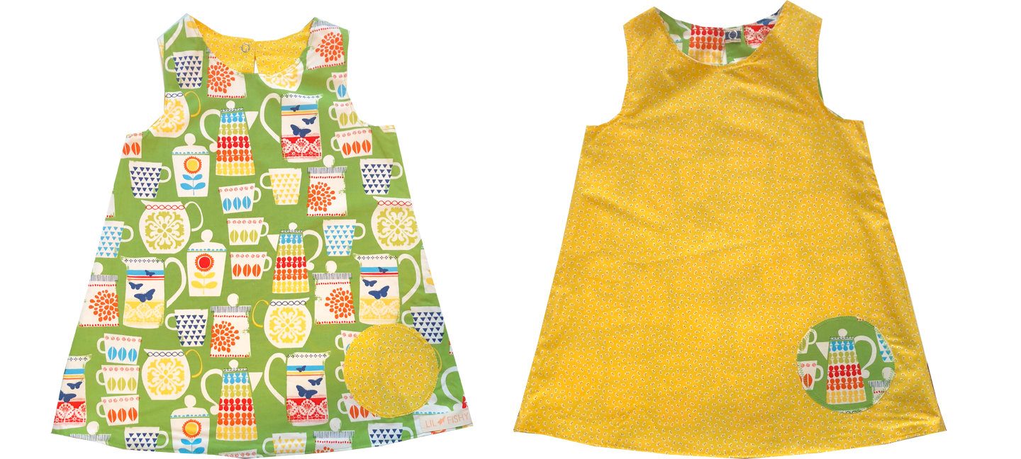 dresses - reversible - tea pot / yellow dots