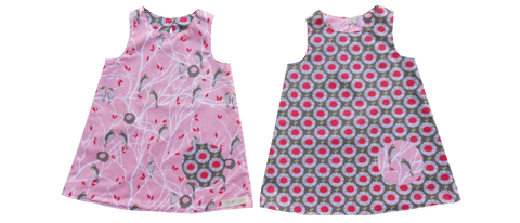 dresses - reversible - pink birds / flowers