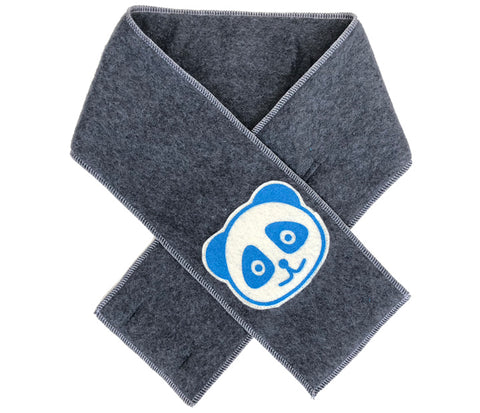 kid scarf - blue panda dark