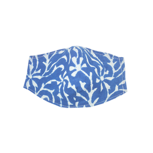 kids fitted masks - indigo coral print