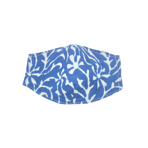 adult fitted masks - indigo coral print