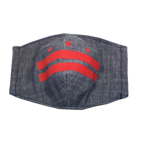adult fitted masks - classic DC flag - denim