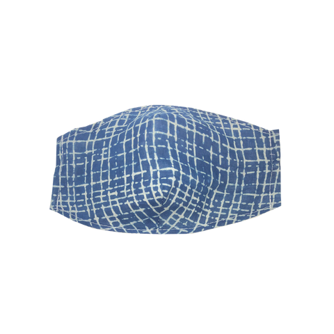 adult fitted masks - indigo check print