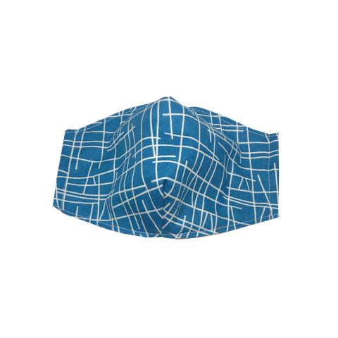 adult fitted masks - lines - blue