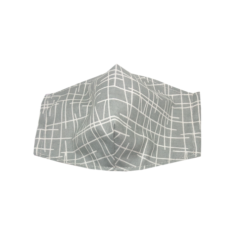 adult fitted masks - lines - grey
