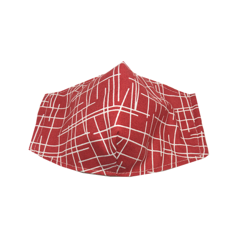 adult fitted masks - lines - burgundy