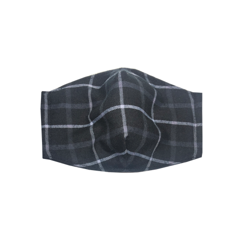 adult fitted masks - black plaid