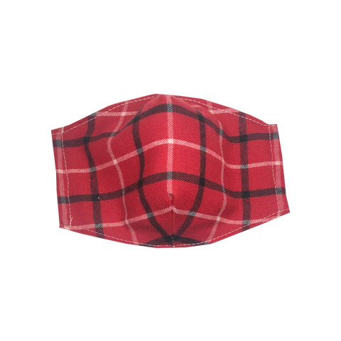 adult fitted masks - red plaid