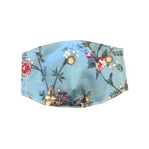 adult fitted masks - Vintage blue flowers