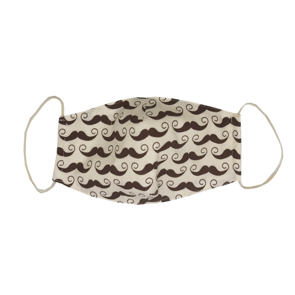 kids fitted masks - brown mustache
