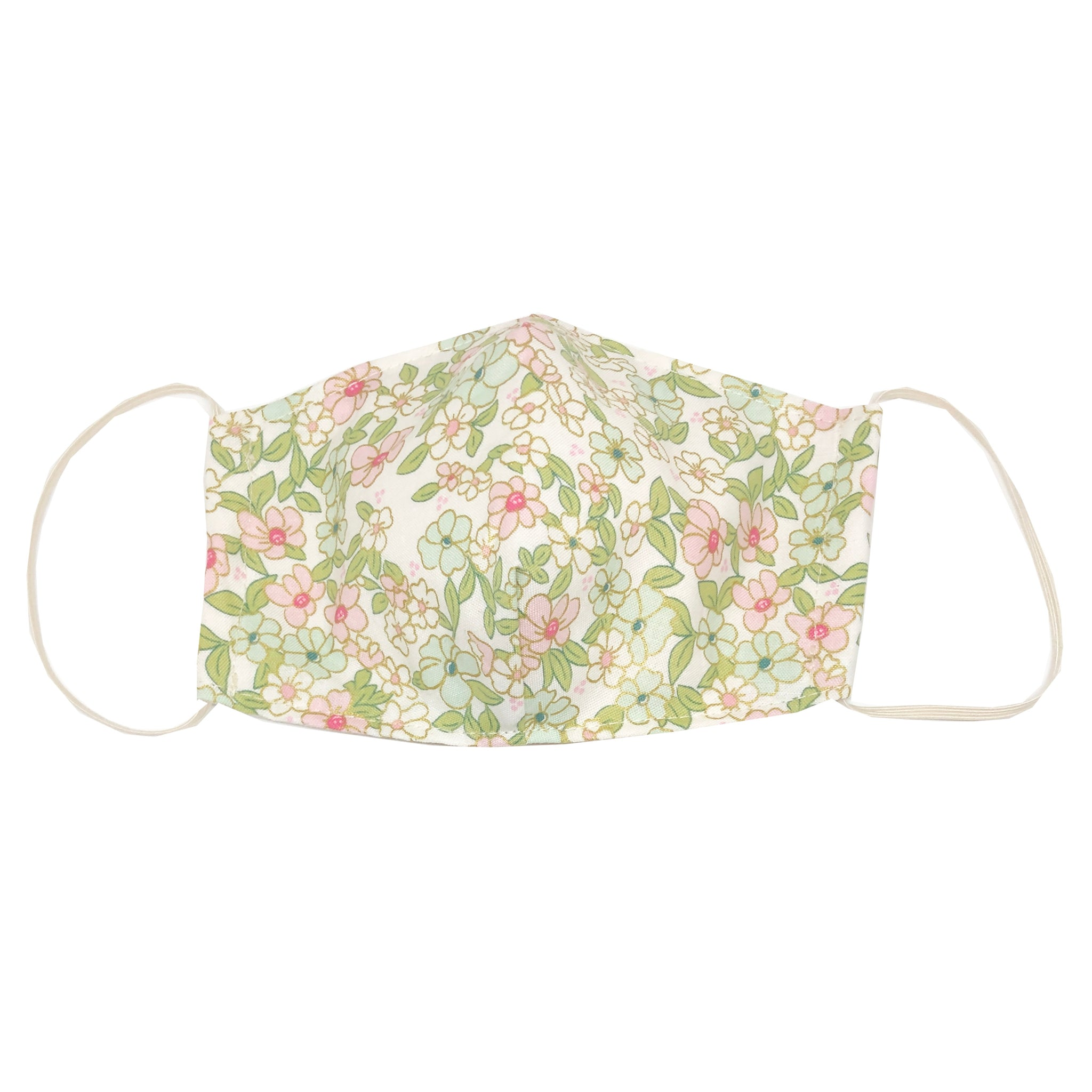 adult fitted masks - white flowers