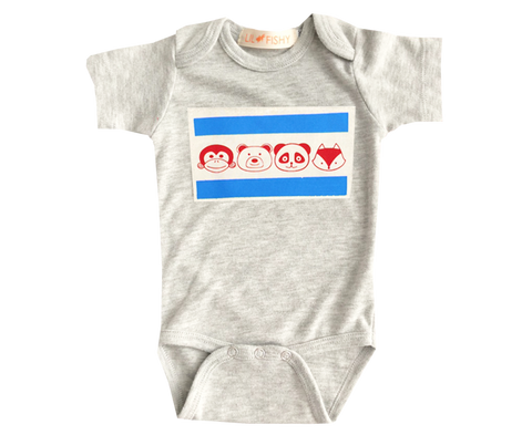 onesies - ss - chicago flag