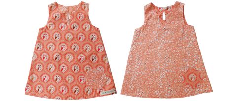 dresses - reversible - orange owls / flowers